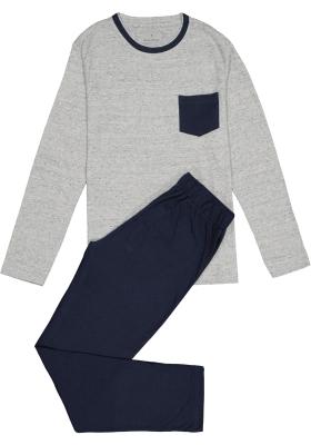 Ten Cate heren pyjama, blauw melange