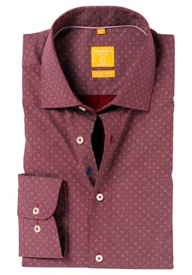 Redmond Modern Fit overhemd, bordeaux rood dessin