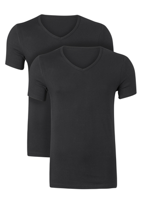 Ten Cate Basic heren T-shirts V-hals, 2-pack, zwart