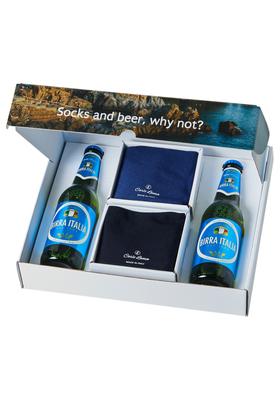 Italiaanse Zwembroek Heren.Heren Cadeaubox Carlo Lanza Italiaans Pakket Bier Met Sokken Blauw