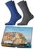 Heren cadeaubox: Carlo Lanza Italiaans pakket bier met sokken blauw en grijs