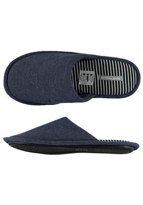 Pantoffels heren, blauwe slof tricot