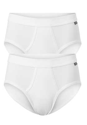 SCHIESSER Cotton Essentials Feinripp sportslips (2-pack), met gulp, wit