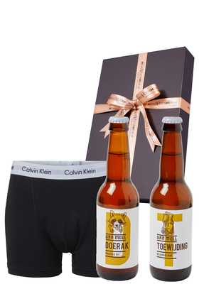 Heren cadeaubox: Moll bier met Calvin Klein boxer