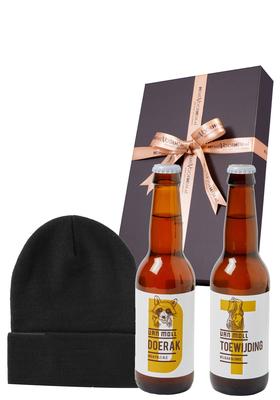 Heren cadeaubox koud: Moll bier met zwarte muts