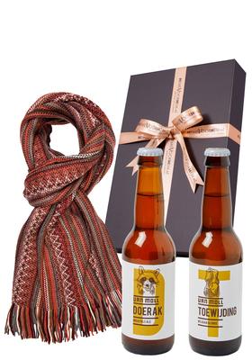 Heren cadeaubox warm: Moll bier met moderne sjaal