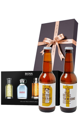 Heren cadeaubox weekend: Moll bier met Hugo Boss parfum miniaturen