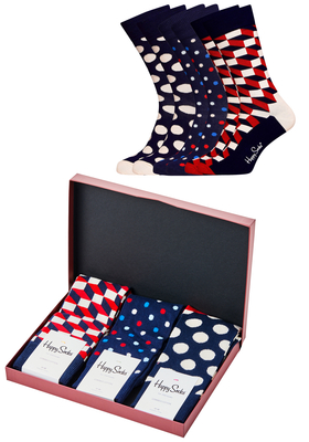 Happy Socks cadeauset, 3-pack Willem, rood-wit-blauw