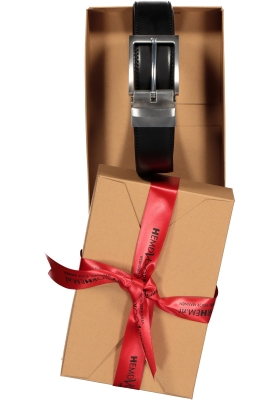 Riem draaibaar zwart-bruin leer, in cadeauverpakking
