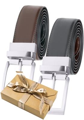 Riem draaibaar, zwart-bruin leer (in cadeauverpakking)