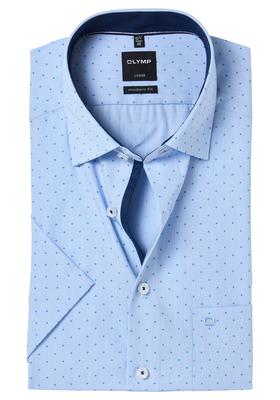 OLYMP Modern Fit, overhemd korte mouw, lichtblauw gestreept (contrast)