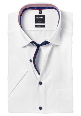 OLYMP Modern Fit, overhemd korte mouw, wit (rood contrast)