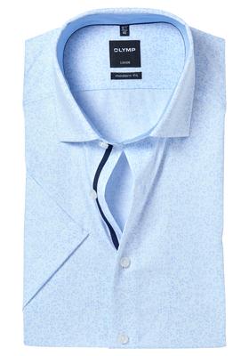 OLYMP Modern Fit, overhemd korte mouw, lichtblauw dessin (contrast)