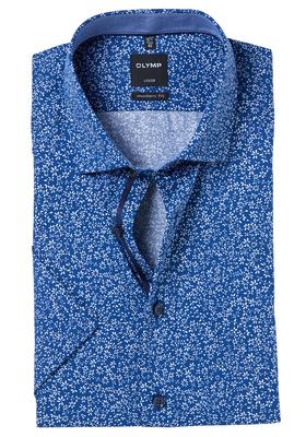 OLYMP Modern Fit, overhemd korte mouw, blauw dessin (contrast)