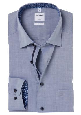 OLYMP Comfort Fit overhemd, blauw structuur (gebloemd contrast)