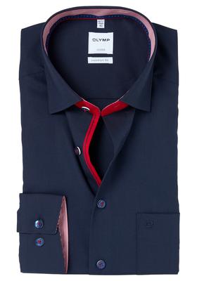 OLYMP Comfort Fit overhemd, blauw (rood contrast)