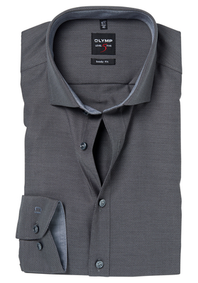 OLYMP Level 5 Body Fit overhemd, antraciet grijs structuur (contrast)