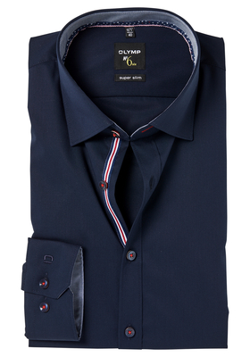 OLYMP No. 6 Six, Super Slim Fit overhemd mouwlengte 7, blauw (contrast)