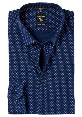 OLYMP No. 6 Six, Super Slim Fit overhemd, blauw gestipt
