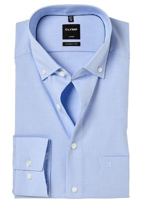 OLYMP Modern Fit overhemd, lichtblauw geruit (contrast)