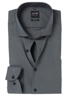 OLYMP Level 5 Body Fit overhemd, antraciet diamant twill