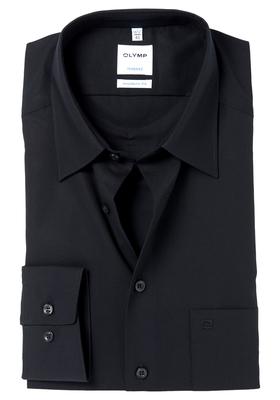 OLYMP Tendenz Modern Fit overhemd, zwart