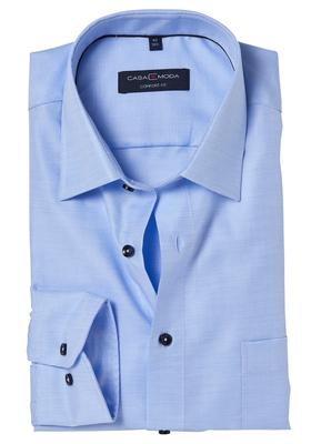 Casa Moda Comfort Fit overhemd, lichtblauw structuur
