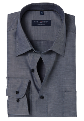 Casa Moda Comfort Fit overhemd, zwart structuur