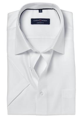 Casa Moda Comfort Fit overhemd, korte mouw, wit structuur