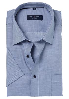 Casa Moda Comfort Fit overhemd, korte mouw, blauw structuur