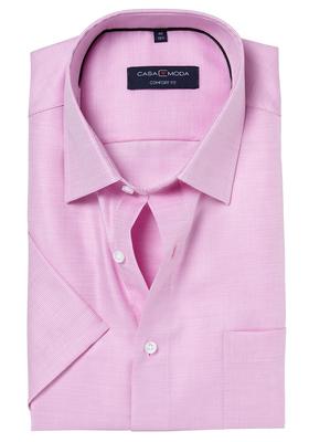 Casa Moda Comfort Fit overhemd, korte mouw, roze structuur