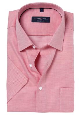 Casa Moda Comfort Fit overhemd, korte mouw, rood structuur