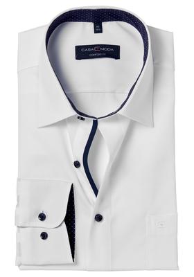 Casa Moda Comfort Fit overhemd, wit (blauw gestipt contrast)
