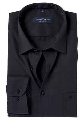 Casa Moda Comfort Fit overhemd, zwart (gestipt contrast)