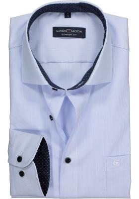 Casa Moda Comfort Fit overhemd, lichtblauw gestreept (gestipt contrast)