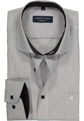 Casa Moda Comfort Fit overhemd, zwart gestreept (gestipt contrast)