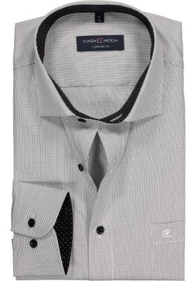 Casa Moda Comfort Fit overhemd, zwart geruit (gestipt contrast)