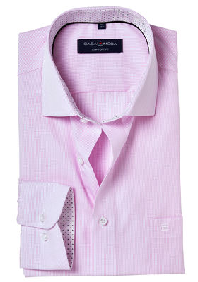 Casa Moda Comfort Fit overhemd, roze geruit (gestipt contrast)