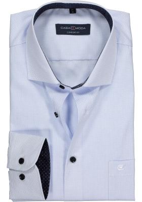 Casa Moda Comfort Fit overhemd, lichtblauw geruit (gestipt contrast)