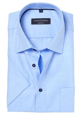 Casa Moda Modern Fit overhemd, korte mouwen, lichtblauw structuur