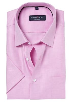 Casa Moda Modern Fit overhemd, korte mouwen, roze structuur