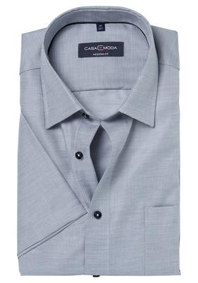 Casa Moda Modern Fit overhemd, korte mouwen, antraciet structuur