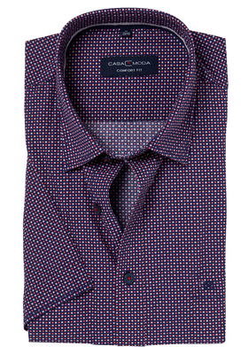 Casa Moda Sport Comfort Fit overhemd, korte mouw, blauw-rood-wit dessin (contrast)