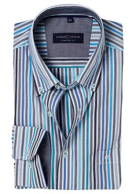Casa Moda Sport Comfort Fit overhemd, blauw gestreept (contrast)