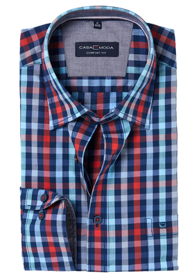 Casa Moda Sport Comfort Fit overhemd, blauw-rood geruit (contrast)