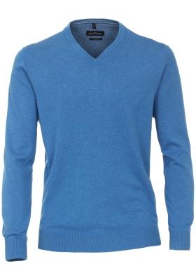 CASA MODA heren trui katoen, V-hals, blauw gemeleerd