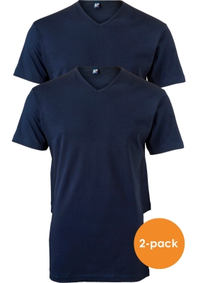 ALAN RED T-shirts Vermont extra lang (2-pack), V-hals, donker blauw