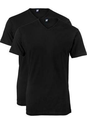 Alan Red T-shirts Vermont (2-pack), extra lang, V-hals, zwart