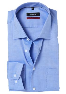 Seidensticker Modern Fit overhemd, blauw structuur