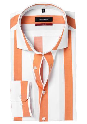 Seidensticker Modern Fit overhemd, oranje-wit gestreept twill